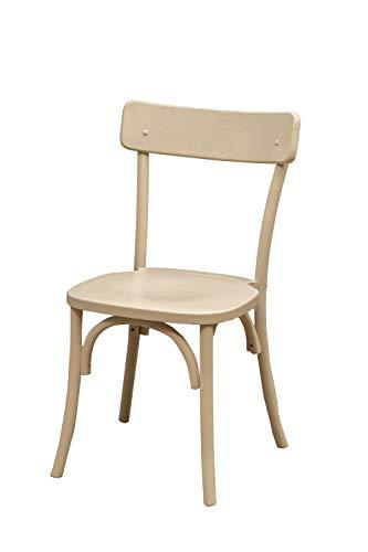 Biscottini Stuhl Thonet aus massiver Esche und Sitzfläche aus Rattan, weiß, L48 x T55 x H88 cm