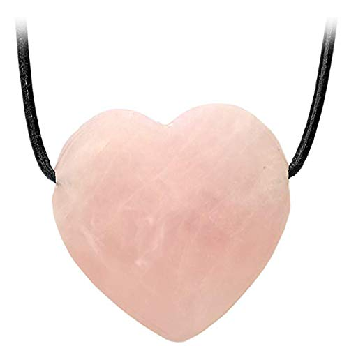 Kaltner Präsente Idea de regalo collar de cuero para hombre y mujer con colgante de corazón de cuarzo rosa de 20 mm de diámetro