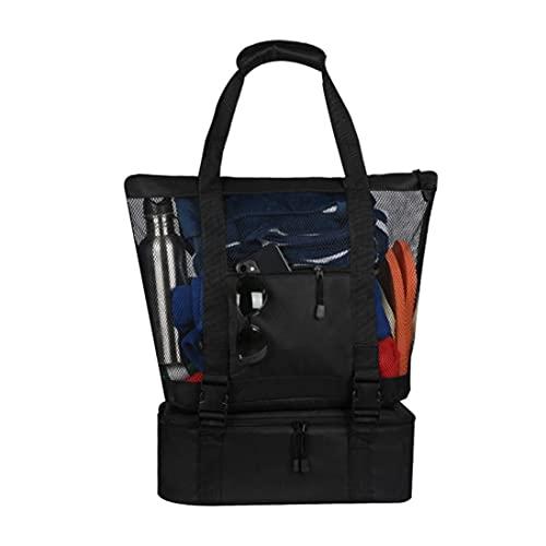 Bolsa de pícnic para mujer, de malla, portátil, multiusos, para exteriores, camping, playa, compras, bolsa aislante, bolsa de hielo (negro)