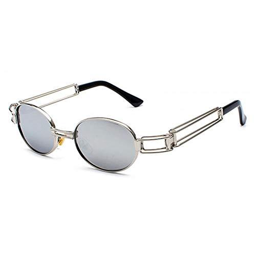 ZZOW Gafas De Sol Steampunk Ovaladas A La Moda para Mujer, Gafas De Sol con Espejo De Metal Hueco Vintage, Gafas De Sol para Hombre, Gafas De Sol Uv400
