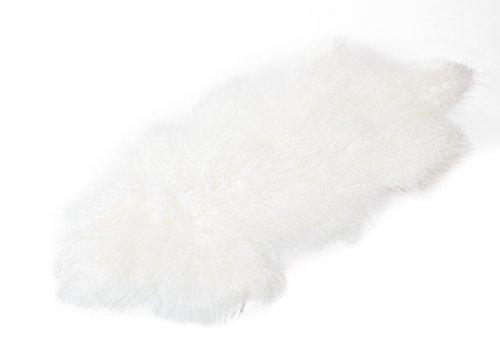 Tibet Lammfell Teppich Tierform (große Farbauswahl) Farbe weiß-weiß JAY02 TP2