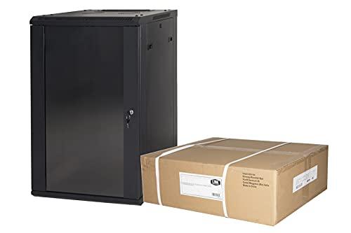 LINK Armadio Rack 19' 18 Unita' da Muro (A) 905 x(L) 600 x (P) 450 Nero DISASSEMBLATO Porta Vetro