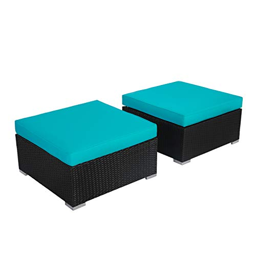 Kinbor 2 Piece Patio Wicker Ottomans Furniture Outdoor Rattan Ottoman Foot Rest with Cushions