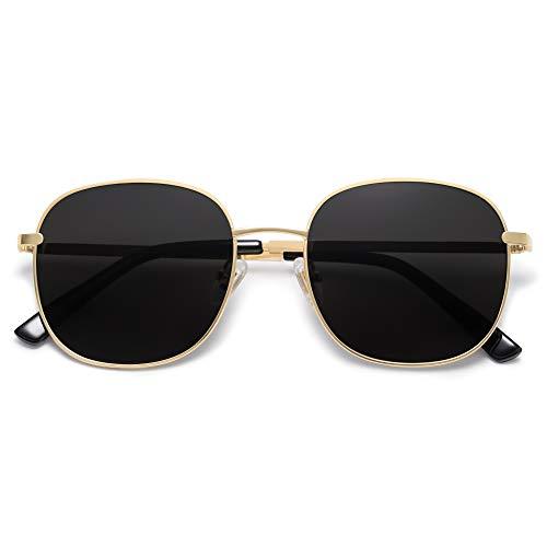 SOJOS Designer Rund Rechteckig Sonnenbrille Flat Verspiegelt Linse Metallrahmen SJ1137 mit Hellgold Rahmen/Graue Verlaufslinsen