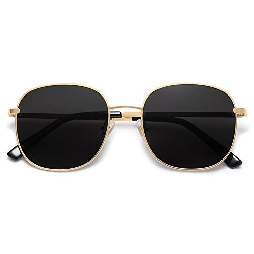 SOJOS Classic Square Sunglasses for Women Men with Spring Hinge AURORA SJ1137 with Gold/Grey