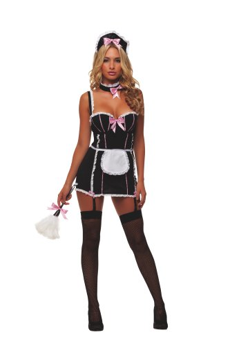 Starline Women's Sexy Parisian Maid 5 Piece Costume Set with Duster, Black/White, X-Large