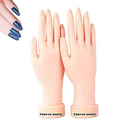2Pcs Practice Hand for Acrylic Nails, Fake Nail Hand Practice, Flexible Bendable Mannequin Rubber Hand,Manicure Practice Hands Nail Art Hand Training Hand for Nail Practice