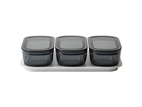 ライクイット (like-it) キッチン収納 調理ができる 保存容器 Mサイズ3個組 グレー + トレーL ホワイト FC-034 冷凍保存可 食器洗い乾燥機可