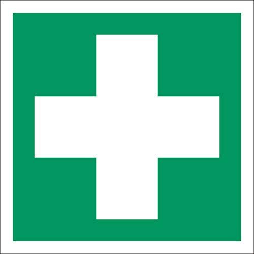 Erste Hilfe Rettungszeichen Rettungswegschild Aufkleber Nachleuchtend ASR A1.3 150 x 150 mm
