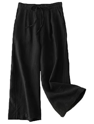 FTCayanz Damen Leinen Culottes Hose Leichte Weitem Bein Sommerhose mit Kordelzug Schwarz M