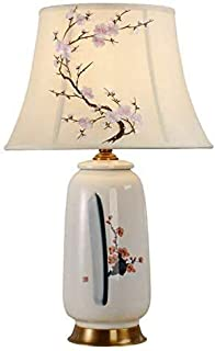 Mopoq New Chinese style copper hand-painted lotus ceramic table lamp American flower and bird bedroom bedside lamp living ...