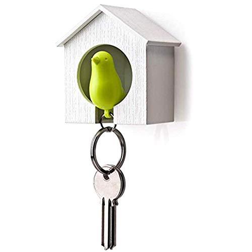 Sleutelhanger vogelhuisje sleutelhanger Sparrow Whistle sleutelhanger houder voor thuisgebruik 1 stuk creatief en nuttig wit (B)