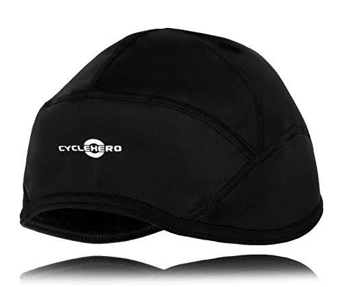 CYCLEHERO Winddichte Radmütze (Größe XL) wasserdichte Mütze für Fahrrad aus Softshell-Material mit extra Polar-Fleece-Ohrenschutz - Mütze für unter dem Helm für Herren und Damen