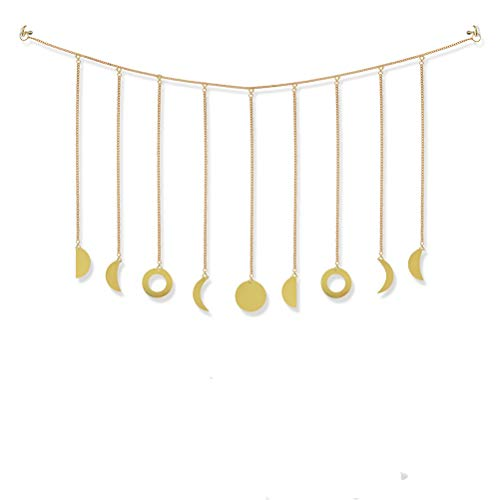 Moon Phase Garland with Chains Boho Gold Shining Phase Wall Hanging Holiday Ornaments Moon Belong Art Room Decor for Bedroom Living Room Apartment Dorm Nursery Home Office, Gold
