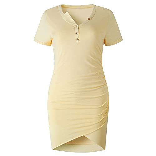 SLYZ Señoras Moda De Verano Sexy Bolso Cadera con Cuello En V Botón Irregular Vestido Femenino