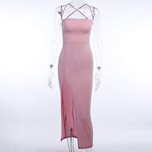 paomo Vestidos de noche para mujer, elegante línea A, cintura imperial, elegante vestido delgado