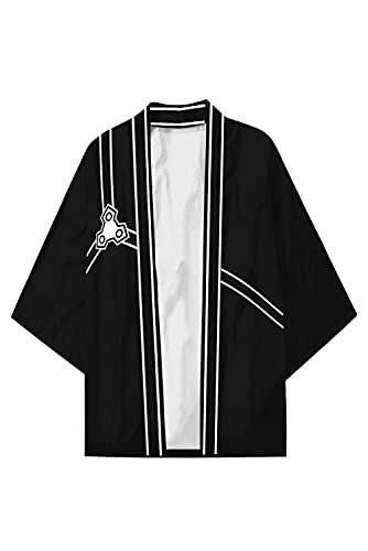 Enhopty Unisex SAO Sword Art Online Kirito Kirigaya Kazuto Kimono Mantelet Coat Cape Jacket Halloween Carnival Cloak Cosplay Costume Schwarz M