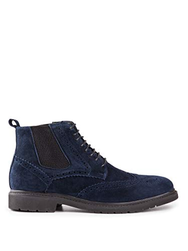 Baldi Men's Almeric F Navy lace-up Chukka Leather Boots with Rubber Sole Best to wear with Jeans for Outdoor Office (US 8 / EU 41)