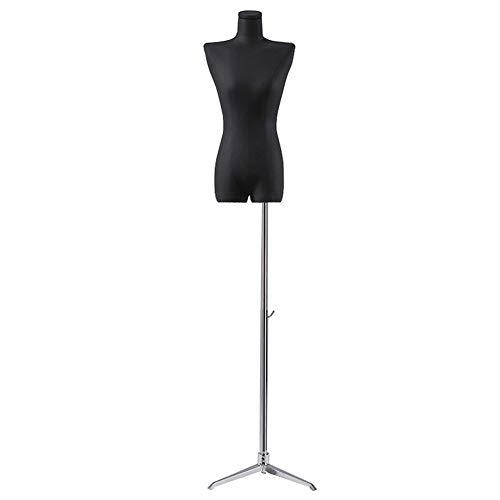 LRHYG Schneiderpuppe Weiblich Schaufensterpuppe Damenbüste Höhenverstellbar Metallfuß Schwarz Verwendet for Kleidung Schmuck Show (Color : E)