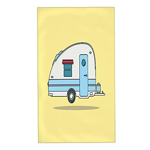 CIKYOWAY Toallas de Manos Drive Red Old Vintage Camping Car Caravana Descanso Camper Auto Deportes Recreación Retro Remolque Aloha Toalla Facial Toalla de baño pequeña para Viajar a casa 40x70cm