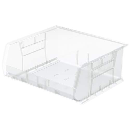 Akro-Mils 30250 AkroBins Plastic Storage Bin Hanging Stacking Containers, (15-Inch x 16-Inch x 7-Inch), Clear, (6-Pack)