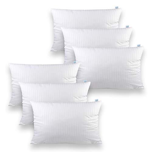 Sleeb Cojín de relleno de 30 x 50 cm, 6 unidades, con cremallera, lavable, color blanco