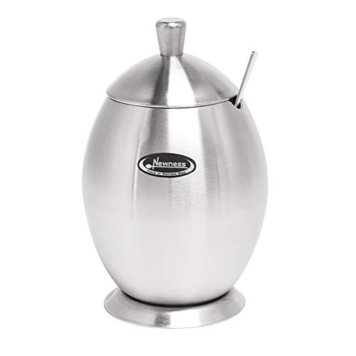 Newness Stainless Steel Sugar Bowl with Lid and Sugar Spoon for Home Egg Shape 98 Ounces290 Milliliter