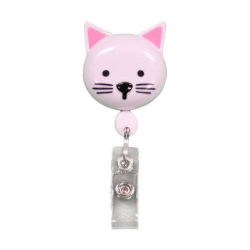 Best ID Badge Retractable Custom Animal Shape with Clip and Reel-Plastic, Key Ring and Plastic Clip for Men, Women, Doctors, Nurses, Kids Clip to Belt, Pants, Keychain, Pocket (Kitty)