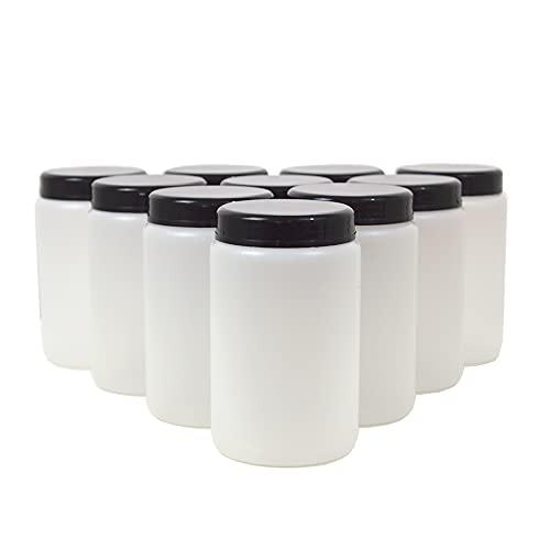 KENZIUM - 10er Pack Weithalsflaschen mit Deckel und Verschluss   500 ml   HDPE   Durchscheinend
