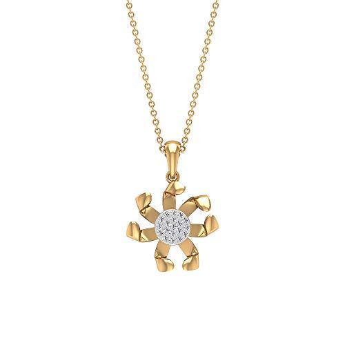 Antiguo pavé 0,12 ct Certified Diamond Disc Colgante, para mujer en oro de 14 quilates, colgante de pétalos trenzados, colgante vintage de girasol, 14K Oro amarillo Con cadena