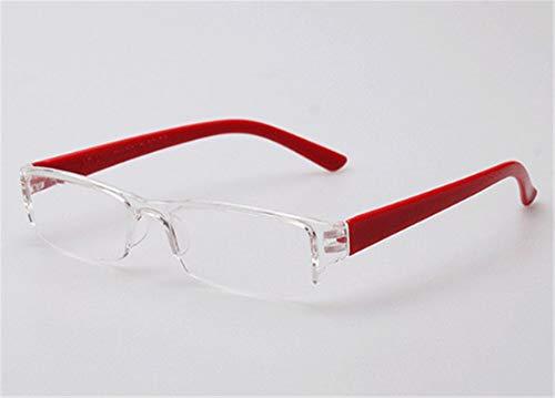 Gafas de Lectura sin Montura, Transparentes, Elegantes, Ligeras, 2.0, Rojo