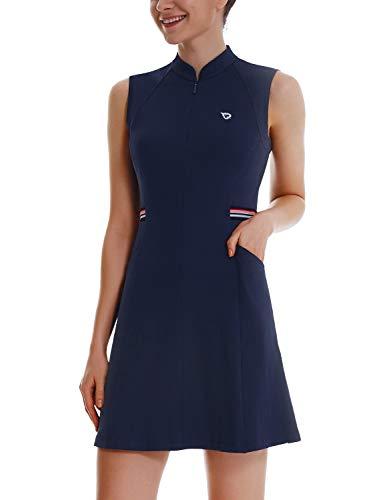 BALEAF Women's Tennis Golf Dress UPF 50+ Sleeveless with Inner Shorts 4-Pockets Sports Workout Navy Size L