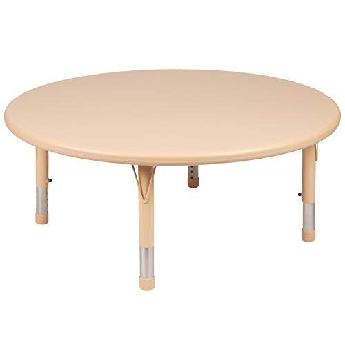 Flash Furniture 45' Round Natural Plastic Height Adjustable Activity Table