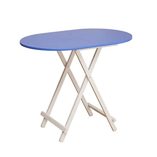 ZXL Klapptisch Esstisch Heimcomputertisch Tragbarer einfacher ovaler Tisch Outdoor-Stehtisch Klapptisch, Küche und Esstisch, Büro, Kinder, Kindertisch (Farbe: Blau)