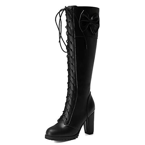 Slenderer Donne Dolce Bow Stivali Knee High Lace up Stivali Tacco Blocco Tacco Alto High Stivali Cosplay Ridding Stivali Heels Black Size 37