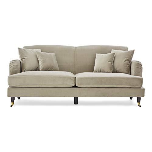 Roseland Furniture - Sofá de tela de terciopelo beige Piper para sala de estar, tradicional de 2 plazas, 3 plazas, sofá de esquina reversible con reposapiés (2 plazas)