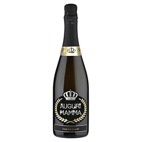 Botella personalizada con auténticos cristales Swarovski – 0,75 l – Regalo ideal para el Día de la Madre – Fabricado en Italia