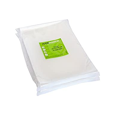 100 Quart Vacuum Sealer Bags Size 8  x 12  for Food Saver, Seal a Meal Type Vac Sealers, Sous Vide Vaccume Safe, BPA Free, Heavy Duty Commercial Grade, Pre-Cut Storage Bag Universal Design Avid Armor