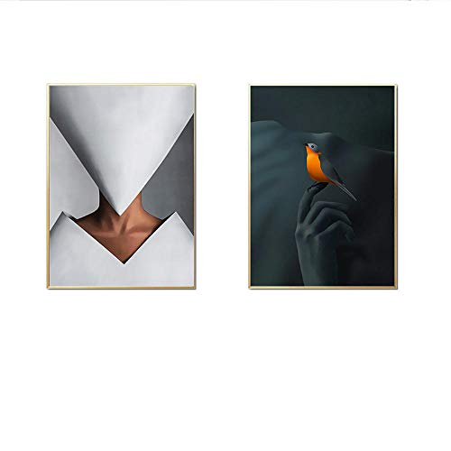 Moderne Zwart Wit Papier Portret Canvas Schilderij Hoge Hoed Mode Poster Print Wall Art Pictures Voor Thuis Woonkamer Decor 40x60cmx2 Geen Frame