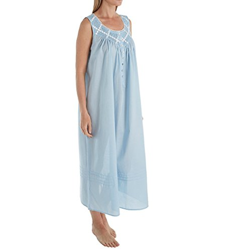 Eileen West Poetic Lawn Ballet Woven Nightgown, XL, Solid Blue