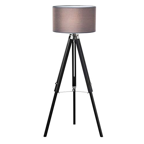 HOMCOM Modern Tripod Stand Floor Land Lamp with Wood Leg Adjustable Height Fabric Lampshade for Living Room, Bedroom, Office, Grey and Black