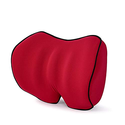 QWY-Car Neck Pillows, Memory Foam Cervical Headrest Breathable Cushions Seat for Driving,Red