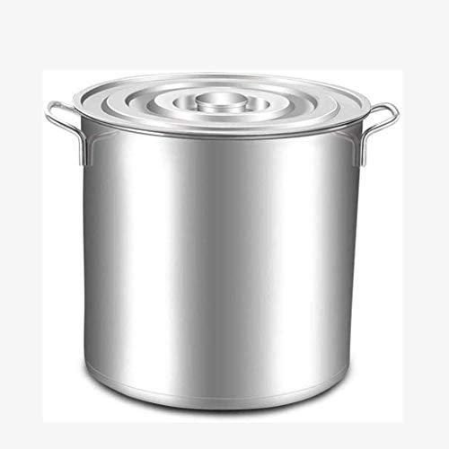 CVMFE Acero Inoxidable clásico Stock Pot/Olla con Tapa - de Acero Inoxidable Cacerola Chef Profesional Cacerola de Dos manijas multipropósito Deep Silver