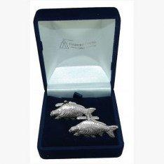 Pewter Mirror Carp Fishing Fisherman Cufflinks Gift, Wedding, Best Man, Usher from Phoenix Engraving & Gifts