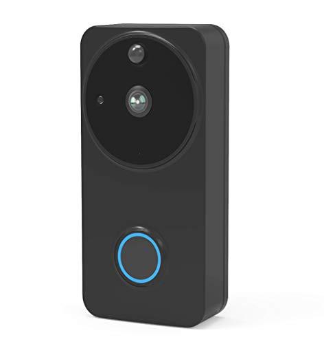 Timbre de Video Inalámbrico, Seguridad, Videoportero Inalámbrico con 720P (Alimentado por Batería), para Equipos De Detección Manual, Audio De 2 Canales, Autoinstalación Simple,Negro