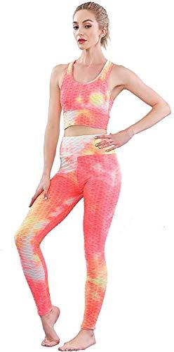 Traje de dos piezas para mujer, chándal de punto tiroteado, top de punto, yoga, entrenamiento, deportes conjuntos de sudaderas - Naranja - Large