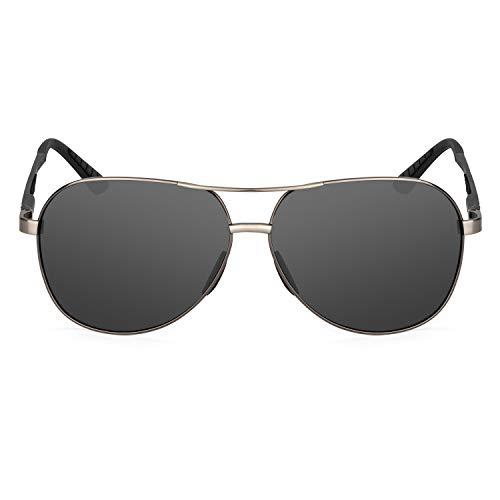 XXL extra large Round Aviator Polarized Sunglasses for big wide heads 150mm (gunmetal, black)