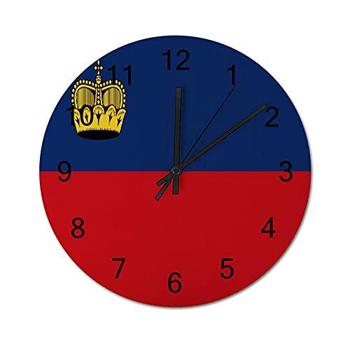 Wanduhr ,Liechtenstein Flagge Fürstentum Lie,Wooden Non-Ticking Digital Wall Clocks Battery Operated ,Rustic Farmhouse Decor for Living Room Bedroom Classroom Office (10inch).