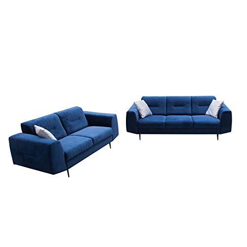 MOEBLO Polstergarnitur Sofa 3 Sitzer 2 Sitzer Sofa Couch Garnitur Stoff Samt (Velour) Glamour Wohnlandschaft 3+2 - Treviso (Dunkelblau)