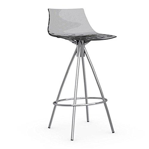 Calligaris Ice Bar Sgabello 65 cm - Gambe cromate - Top trasparente (grigio fumo)